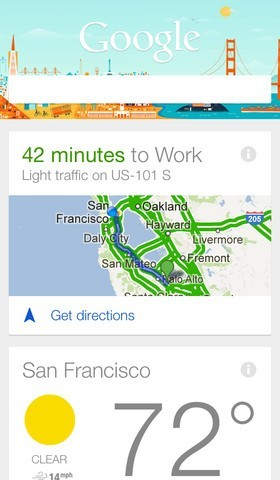 Google Now per iOS - Calcolo itinerari
