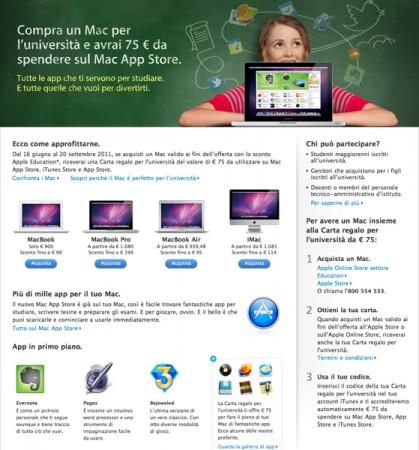 Promozione Back to School di Apple: acquista un Mac, in regalo 75 euro di spesa