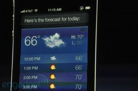 iPhone 4S, Siri consulta le previsioni del tempo