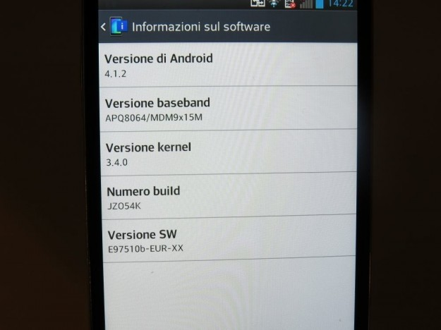 LG Optimus G informazioni sul software
