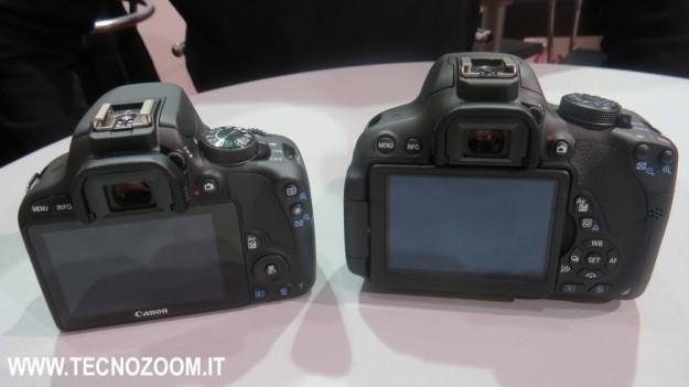 Canon EOS 100D e Canon EOS 700D viste dal retro