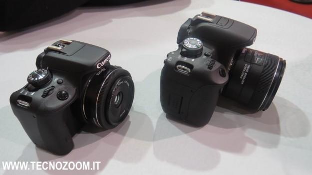 Canon EOS 100D e Canon EOS 700D viste di tre quarti
