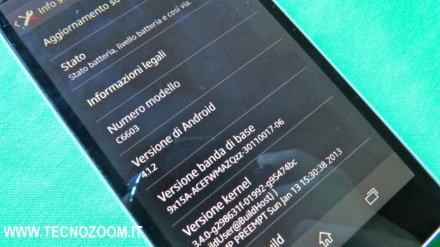 Sony Xperia Z informazioni software