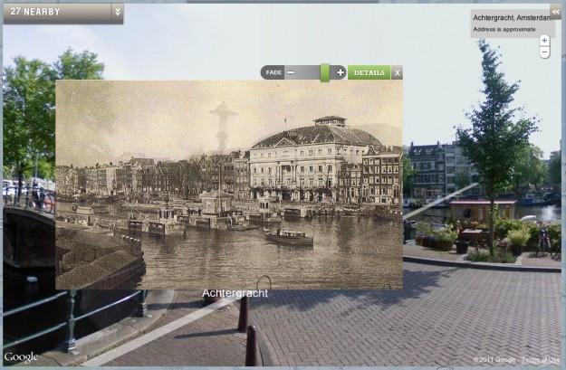 Amsterdam foto storica e moderna con Google Maps