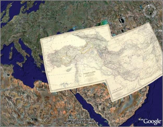 Il vicino oriente su Google Maps con foto satellitari e mappe antiche