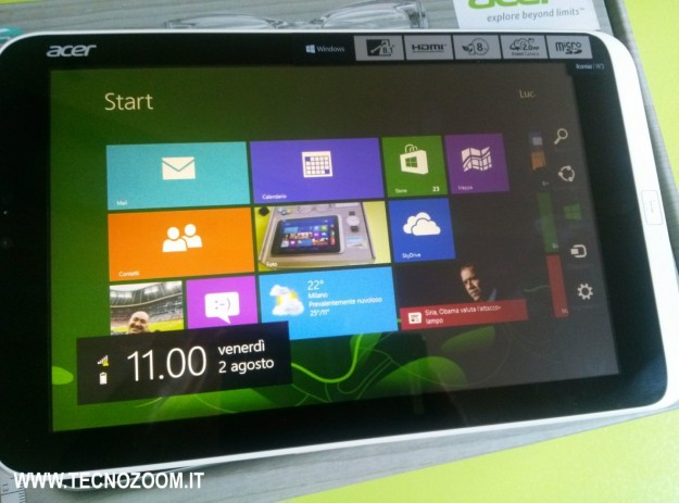 Acer Iconia W3 notifiche