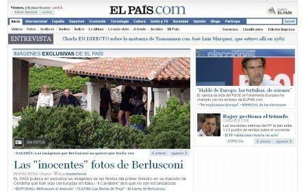 la prima pagina di El Pais