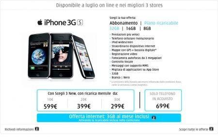iPhone 3GS: TRE presenta le tariffe e le promozioni