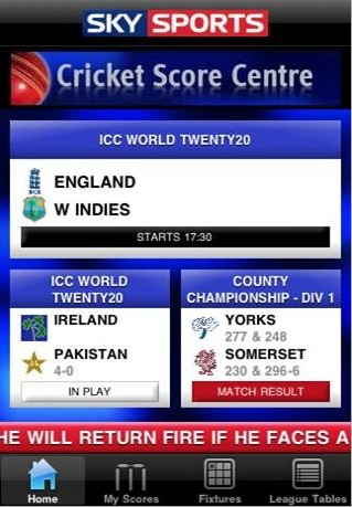 Sky Sports Live Cricket Score Centre