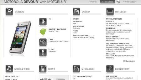 Motorola Devour con Motoblur: specifiche tecniche ed immagini ufficiali